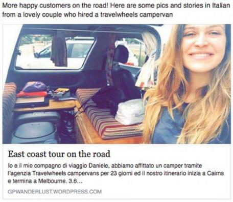Unsere Kunden aus Italien haben sogar einen ganzen Blog über ihre Reise mit Travelwheels geschrieben!